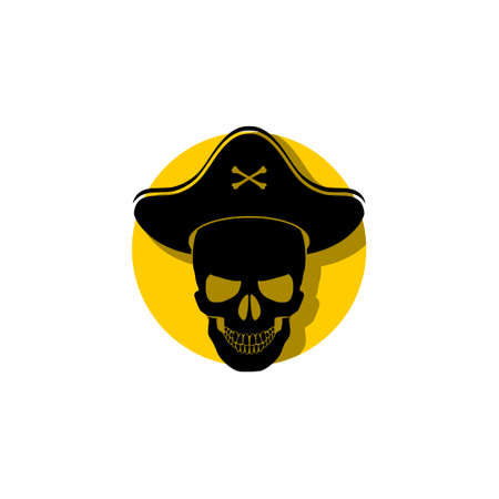 Skull and Crossbones Pirate logo icon sign