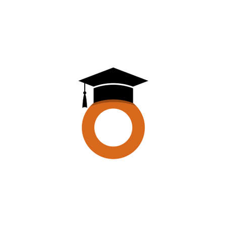 Letter o logo, Graduation Cap illustration