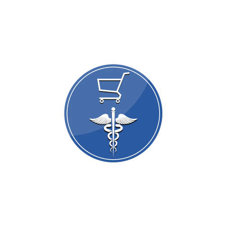 Illustration of caduceus medical symbol and shopping cart