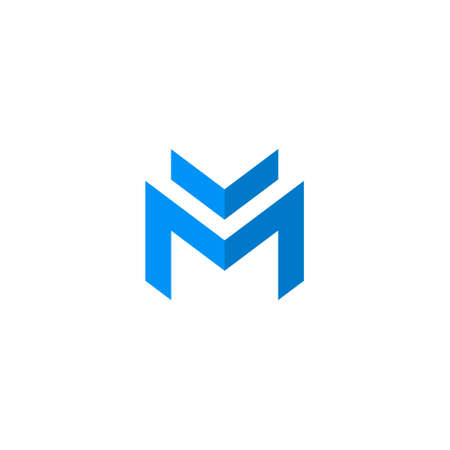 Simple Blue Abstract letter M   icon template