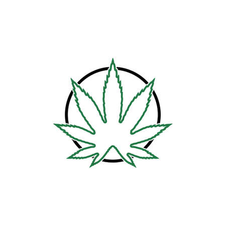 Cannabis leaf on circle sign in green color, Marijuana Stock Illustratie
