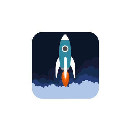 Flat isometric space symbol rocket ship icon