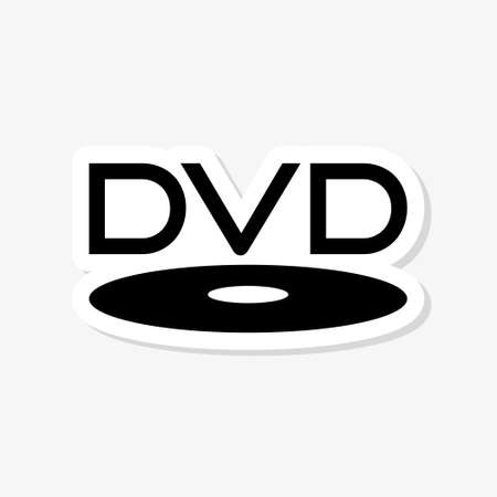 DVD sticker isolated on white background. DVD Player icon simple sign 向量圖像