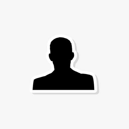 Man paper sticker isolated on white background. Man icon simple sign