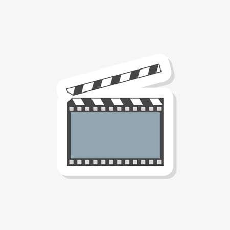 Movie clapper board sticker. Illustration in flat style.