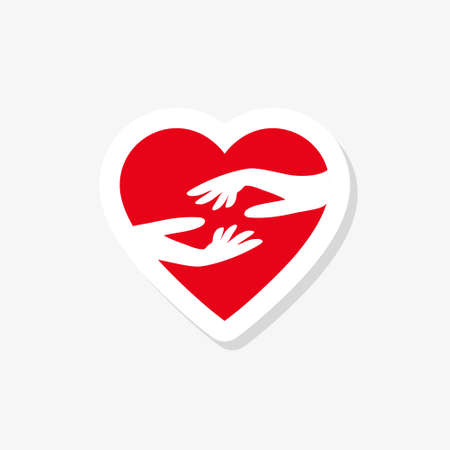 Hands and heart sticker, Heart care