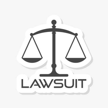 Icon of justice scales. Law, Attorneys Sticker   Template
