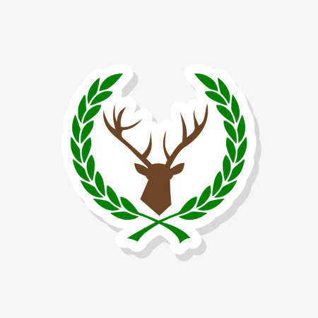 Simple pictogram of the deer head in the laurel wreath sticker