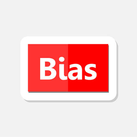 Word writing text Bias, red sign sticker Illustration