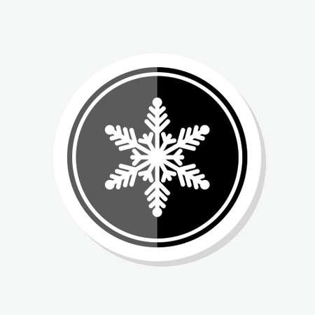 Snowflakes black sticker on white background