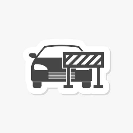 Road barrier, car sticker. Icon isolated on white background Stock Illustratie