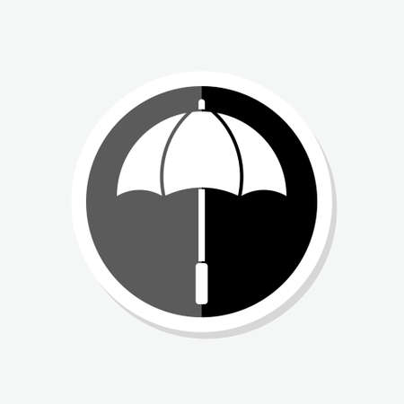 Umbrella sticker in trendy flat style isolated on background