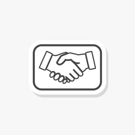 Handshake sticker icon isolated on white background. Handshake icon in trendy design style for web
