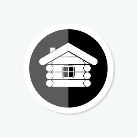 Mountain wood house sticker icon. Wood house icon for web design isolated on white background