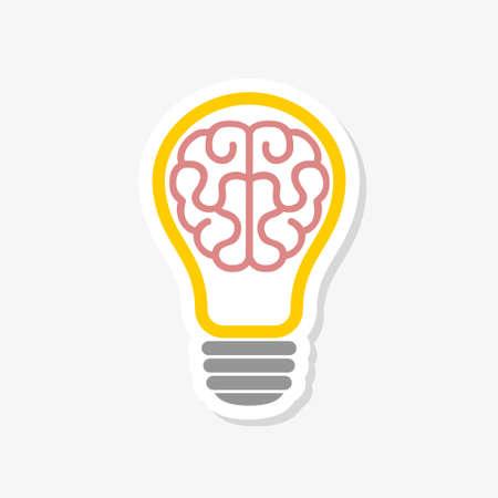 Lightbulb with brain sticker icon. Creative idea design concept