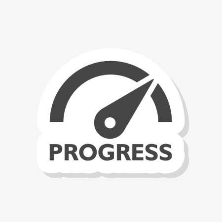 Progress Text sticker. Progress speedometer concept