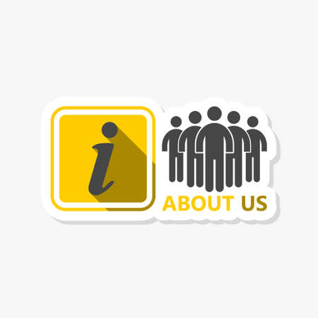 About Us Isolated sticker icon. Information sign