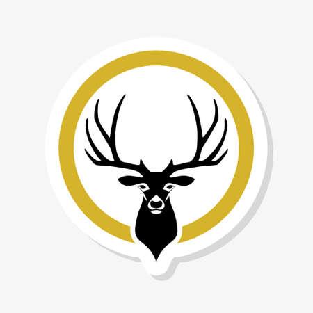 Deer black head icon on white background