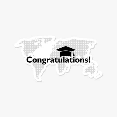 Congratulations sticker icon on white background, World concept