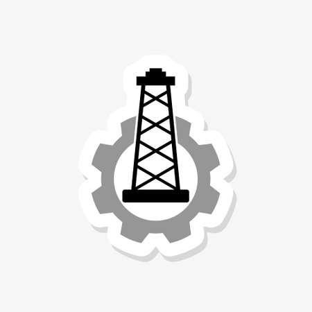 Image relative to oil mining industry. Oil pump cut out icon.
