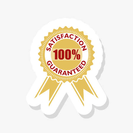 100% satisfaction guaranteed label isolated on a white background 向量圖像