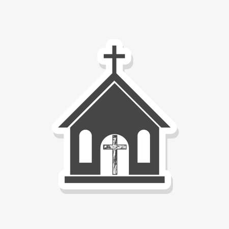 Small church sticker icon, black sign on isolated background