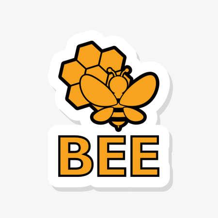 Bee sticker icon on white background
