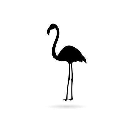 Silhouette of flamingo icon with shadow