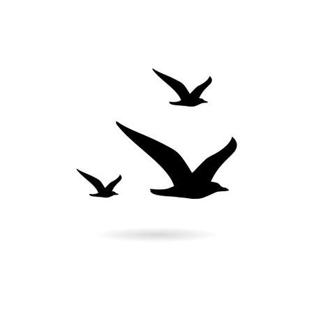 Flying Seagull Bird black silhouette isolated on white background Vettoriali