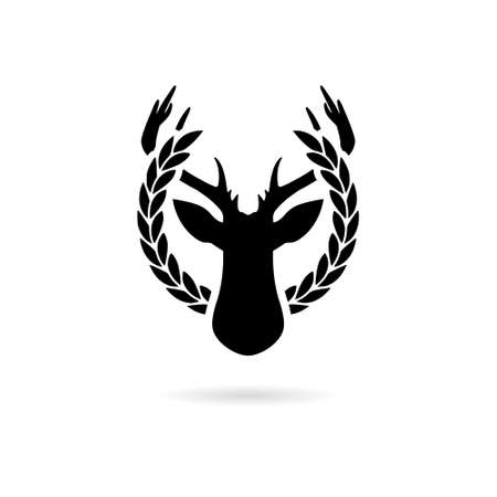 Black and white simple pictogram of the deer head in the laurel wreath