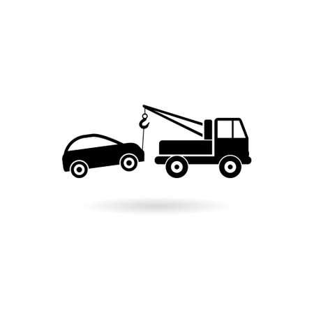 Towed car icon simple design style on white background Vektoros illusztráció