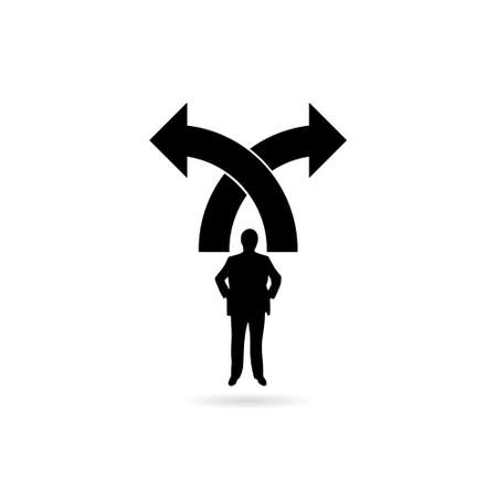 Left or right direction arrows with Businessman icon