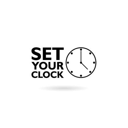 Set your clock, Clock, Watch icon Black Flat Illustration on White Background Stock Illustratie