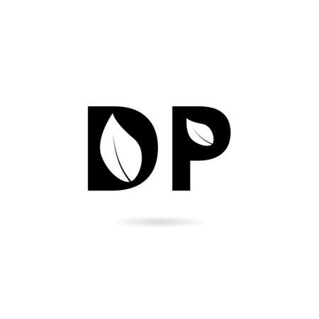Letter D and letter P logo, DP icon isolated on white background