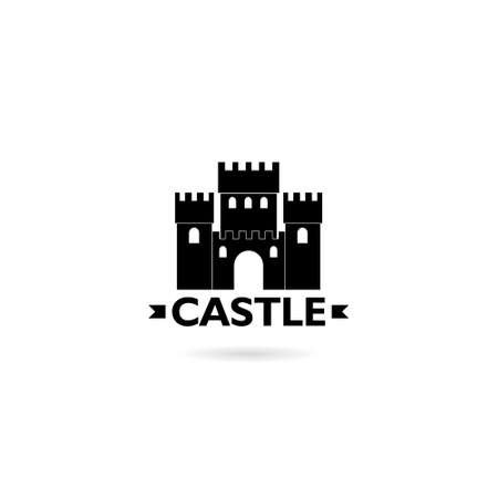 Castle logo design concept isolated on white background Stock Illustratie