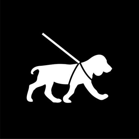 Guide dog icon flat illustration for graphic and web design isolated on black background Vetores