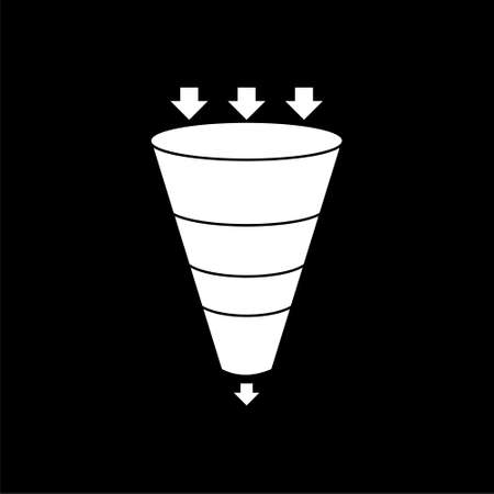 Sales funnel business concept of leads prospects isolated on black background