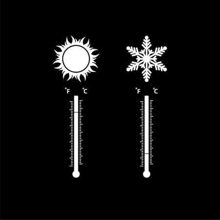 Thermometers with high and low temperature isolated on black background