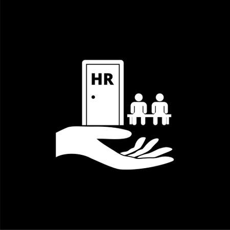 Human resources icon flat illustration for graphic and web design isolated on black background