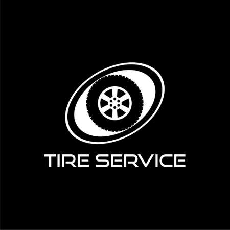 Tire service icon isolated on black background. Stock Illustratie