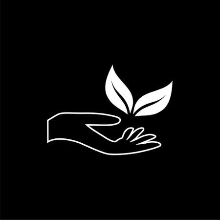 Organic Leafs in hand icon isolated on black background Stock Illustratie