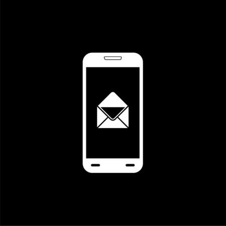 Email notification on smartphone icon isolated on black background Stock Illustratie