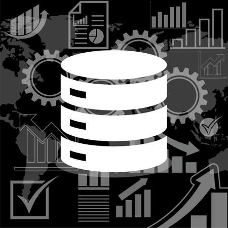 Database icon isolated on black background