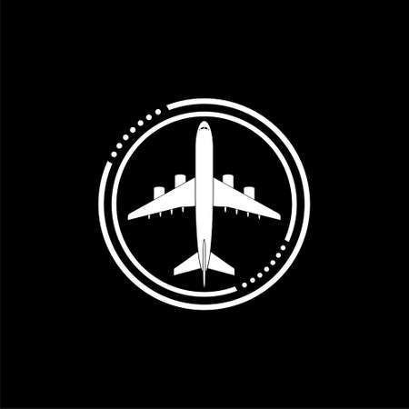 Airplane, Plane icon isolated on black background Stock Illustratie