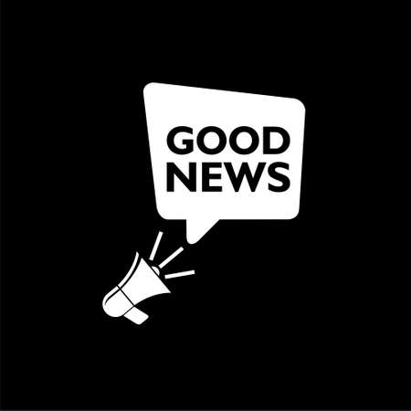 Good news information alert with megaphone isolated on black background Stock Illustratie