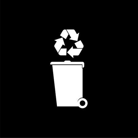 Recycle bin with recycle symbol icon isolated on black background Stock Illustratie