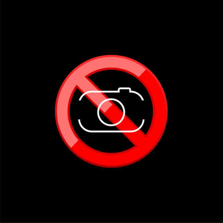 No camera allowed sign. Red no sign with camera in trendy flat design isolated on black background