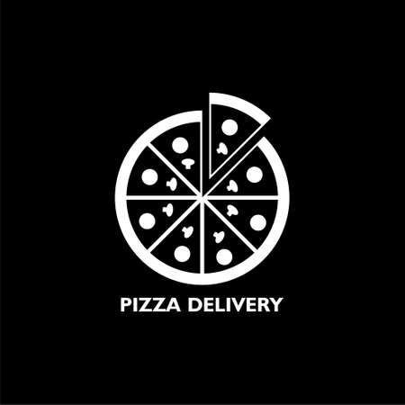 Pizza delivery icon isolated on black background Stock Illustratie