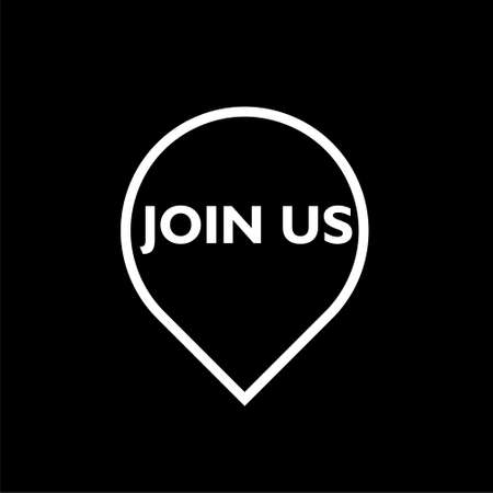 Join Us members recruitment isolated over black background