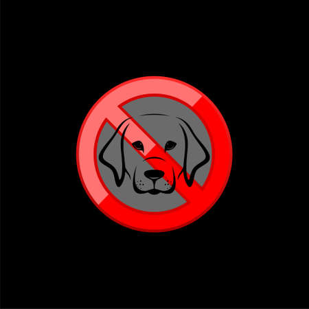 No dogs sign isolated on black background